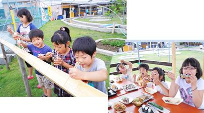食事をしている子供の写真